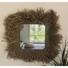Load image into Gallery viewer, Raffia coastal square wall mirror