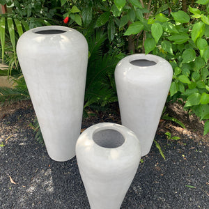 Soft grey terracotta Sunda vase urn