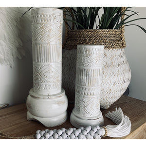 Timor carved candle pilars in  white wash.