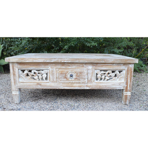 Whitewash Carved coffee Table
