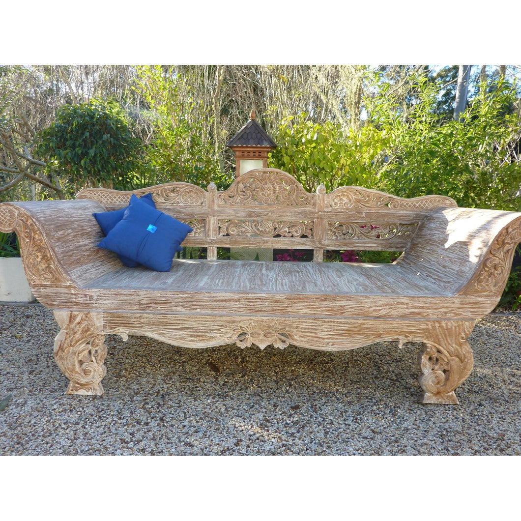 Whitewash carved Daybed - Unique Imports brought to you by Pablo & Kerrie Wijaya