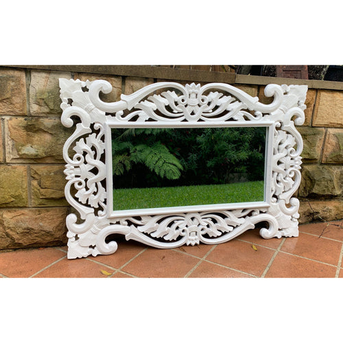 Della Carved Mirror white. - Unique Imports brought to you by Pablo & Kerrie Wijaya