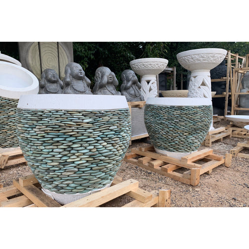 Round Riverstone pots. - Unique Imports brought to you by Pablo & Kerrie Wijaya