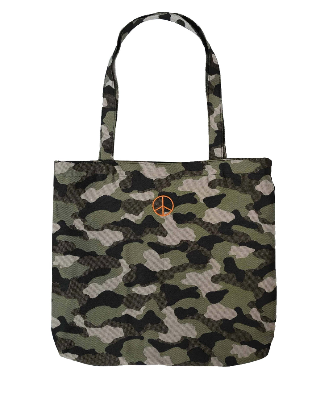 AD10015 - CAMO TOTE BAG - accessories - bags - Camo is the new neutral. Pair this perfect size tote back with almost everything already in your closet. Featuring a bright orange peace sign - hand embroidered by Nicole herself.