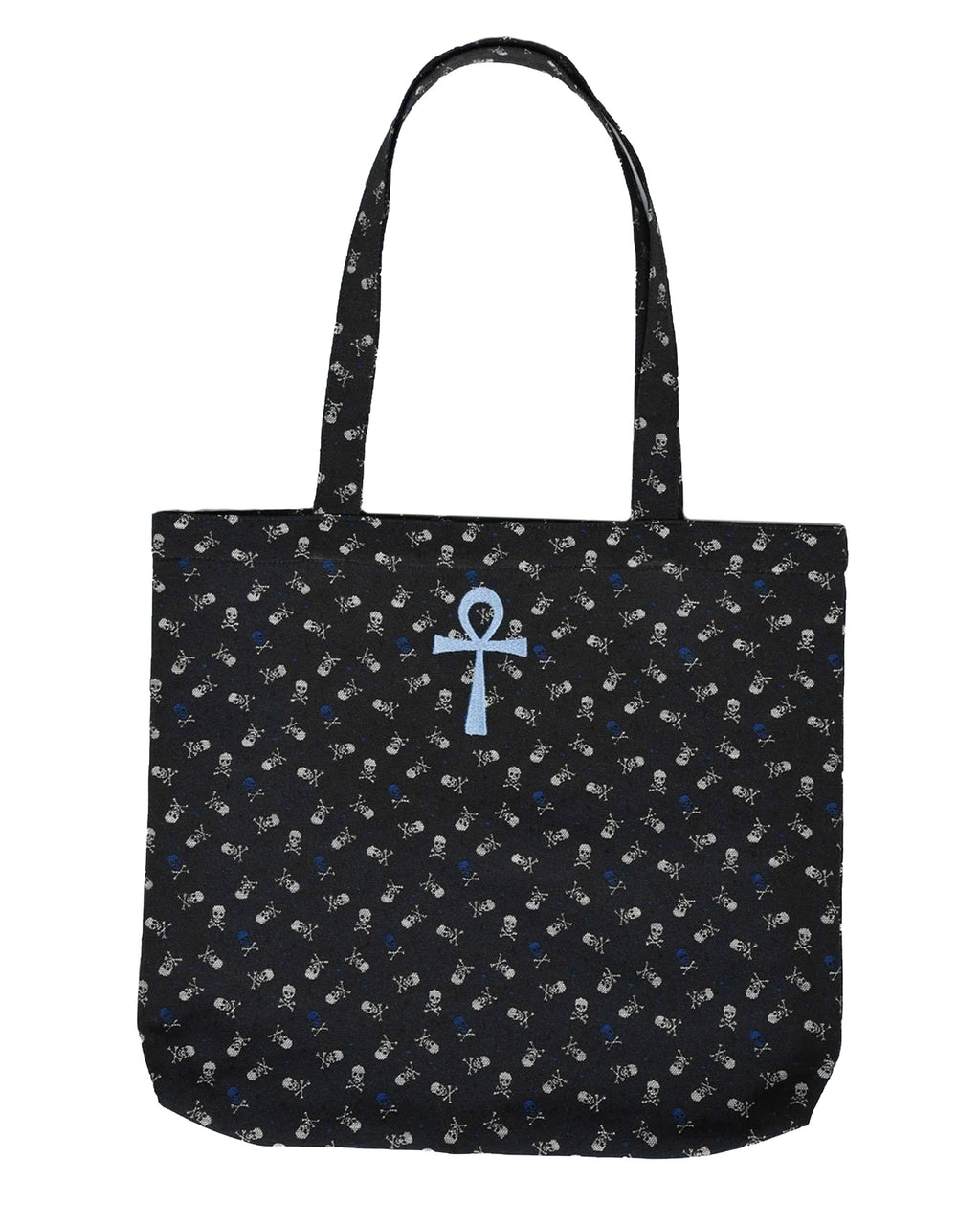 AD10016 - SKULL TOTE BAG - accessories - bags - Crafted from leftover skull fabric into a perfectly sized tote. Featuring a baby blue ankh embroidery - hand embroidered by Nicole herself.