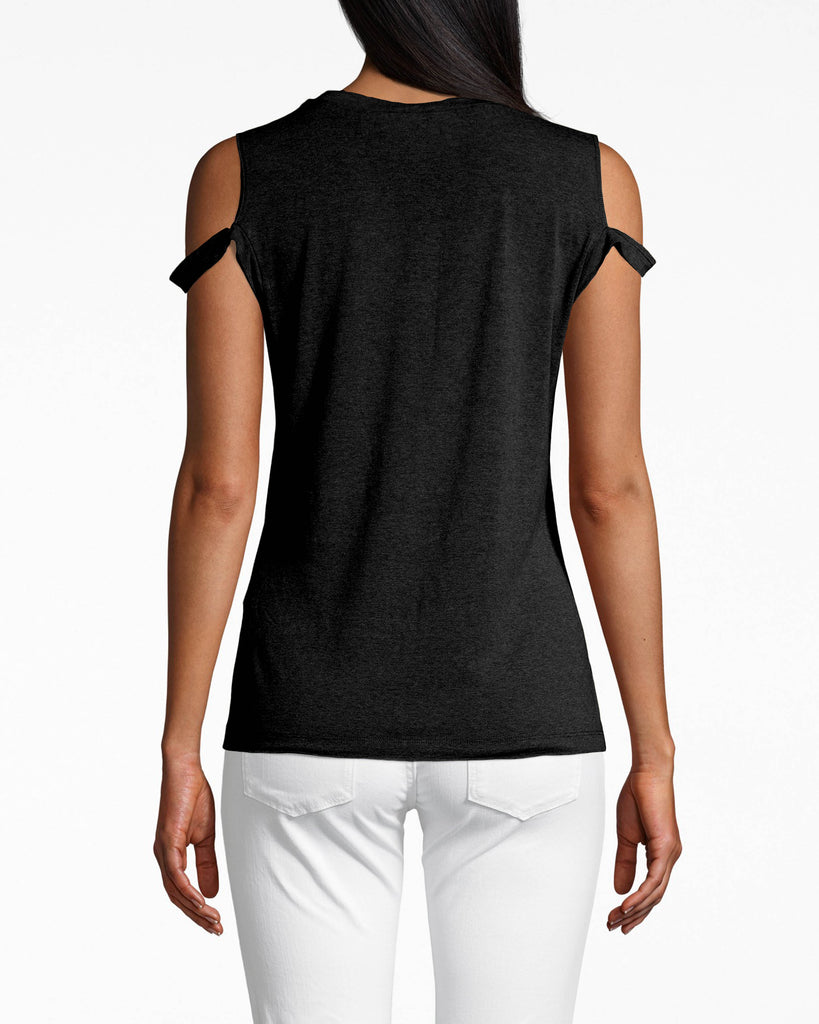 AL10044 - COTTON JERSEY TIMMY T-SHIRT - tops - shirts - COMFORTABLE YET CHIC. THIS SOFT T-SHIRT HUGS YOUR CURVES AND FEATURES CUTOUTS ON THE SLEEVES FOR UNEXPECTED DETAILS. PAIR WITH DENIM OR A PATTERNEDBOTTOM. Alternate View