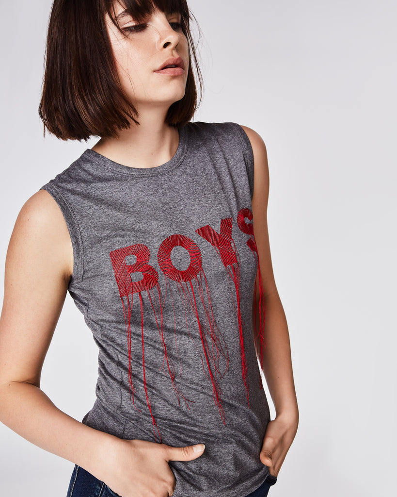 "AM10039 - EMBROIDERED ""BOYS"" TANK - tops - shirts - This soft, fitted tank features stand-out red embroidery and fringe. Unlined. Final Sale Alternate View"