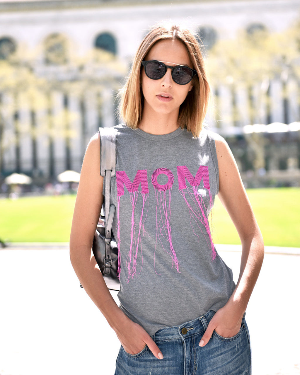 AM10046 - EMBROIDERED MOM TANK - tops - shirts - Soft and light, this silk top is the perfect summer staple. The delicate pleats and sleeveless silhouette makes this flowy top a favorite. Pair with jeans and sneakers for a simple and chic look. Fully lined. Final Sale