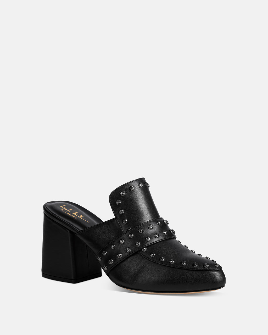 ANDRIA2 - ANDRIA MULE - shoes - shoes - This black leather mule is an easy to wear with a block heel and the perfect edgy update to a black boot with grommet detail.