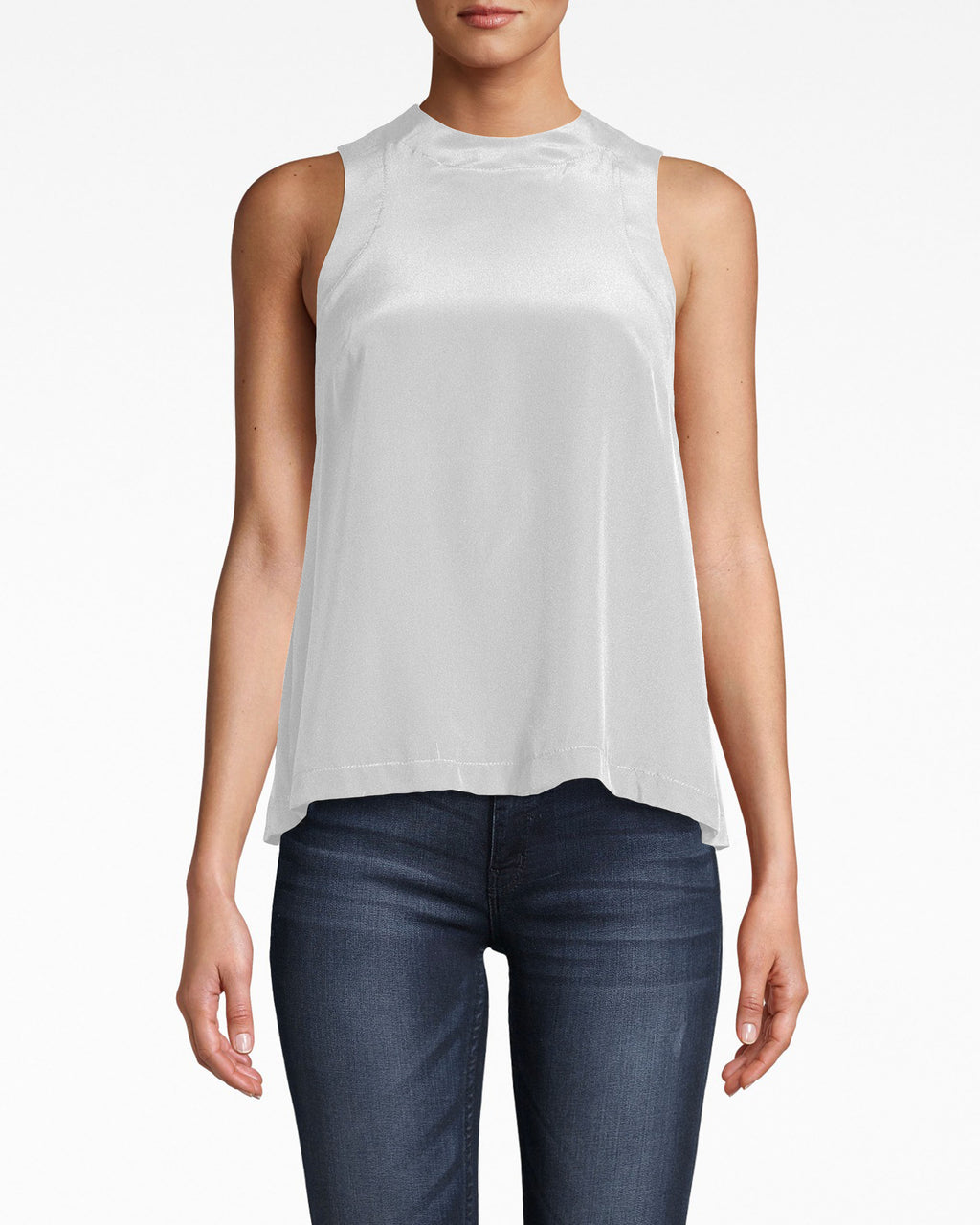 AO10053 - SOLID SILK BLEND TANK TOP - tops - blouses - YOUR NEW EVERYDAY TANK. MADE FROM SOLID SILK AND FEATURING A HIGH NECK, THIS INSTANTLY MAKES ANY OUTFIT A LITTLE CHICER. A SMALL KEYHOLE ON THE BACK IS A SUBTLE SEXY TOUCH. BUTTON FOR CLOSURE.