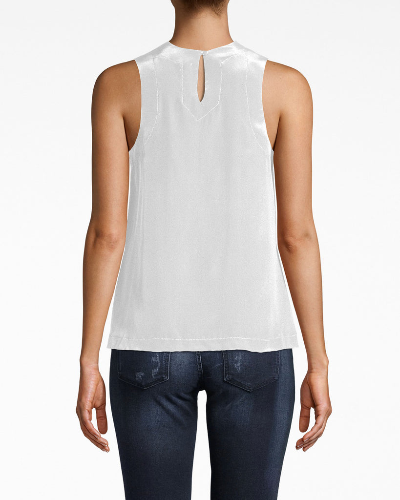 AO10053 - SOLID SILK BLEND TANK TOP - tops - blouses - YOUR NEW EVERYDAY TANK. MADE FROM SOLID SILK AND FEATURING A HIGH NECK, THIS INSTANTLY MAKES ANY OUTFIT A LITTLE CHICER. A SMALL KEYHOLE ON THE BACK IS A SUBTLE SEXY TOUCH. BUTTON FOR CLOSURE. Alternate View