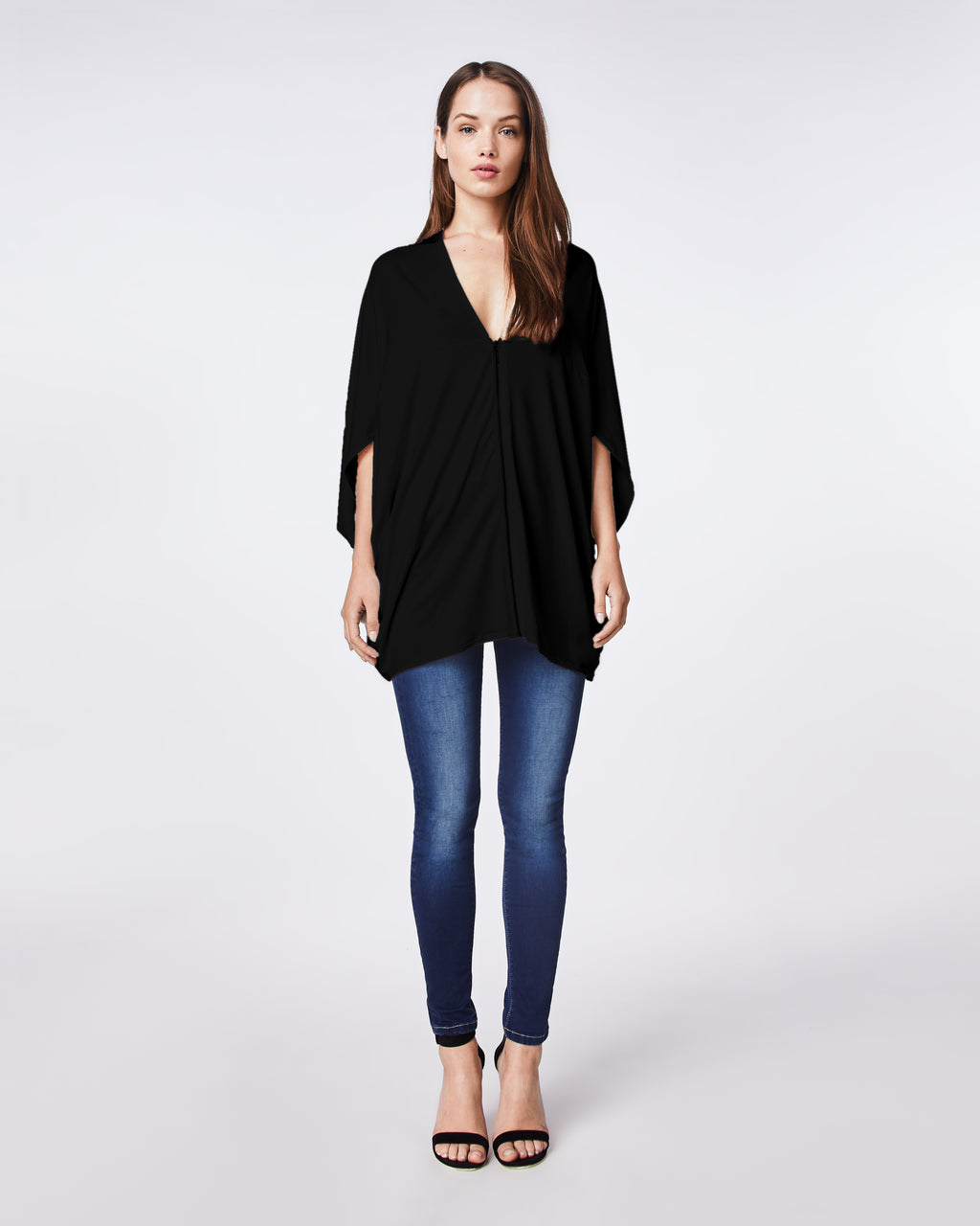 AP0464 - JERSEY COCOON TOP - tops - blouses - Easy and comfortable, this v-neck top features a front zipper. Wear zipped up as a top or unzipped to layer