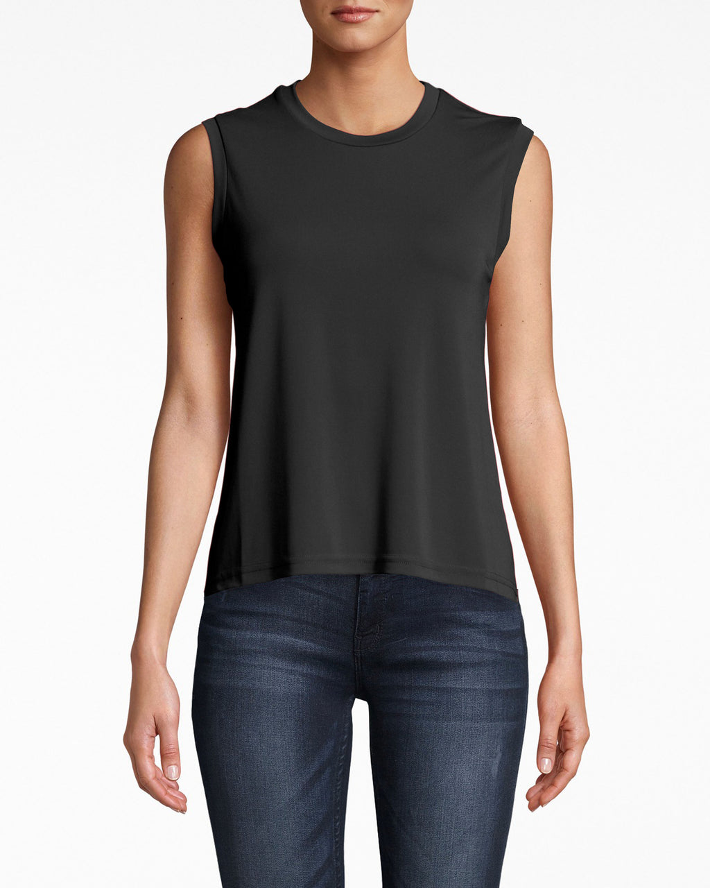 AQ10060 - STRETCHY MATTE JERSEY JEWEL NECK TANK - tops - shirts - Versatile: no sleeves, mock neck, and loose fit. Pair this stretchy jersey tank with jeans and your fave booties.
