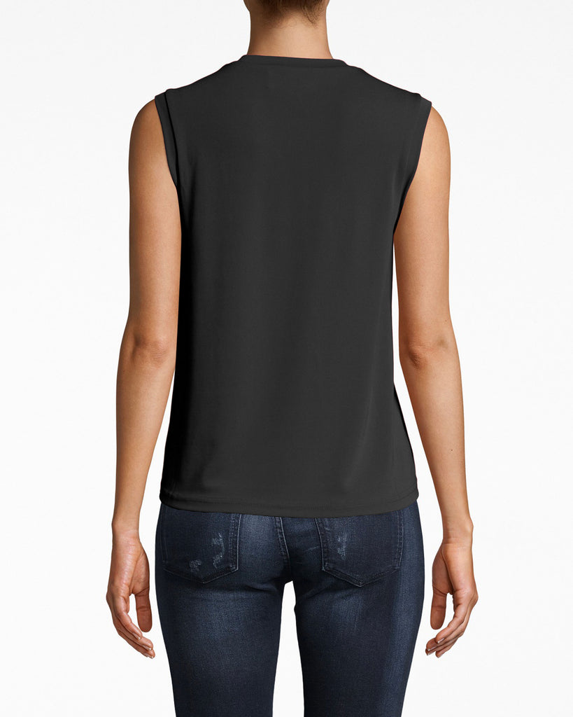 AQ10060 - STRETCHY MATTE JERSEY JEWEL NECK TANK - tops - shirts - Versatile: no sleeves, mock neck, and loose fit. Pair this stretchy jersey tank with jeans and your fave booties. Alternate View