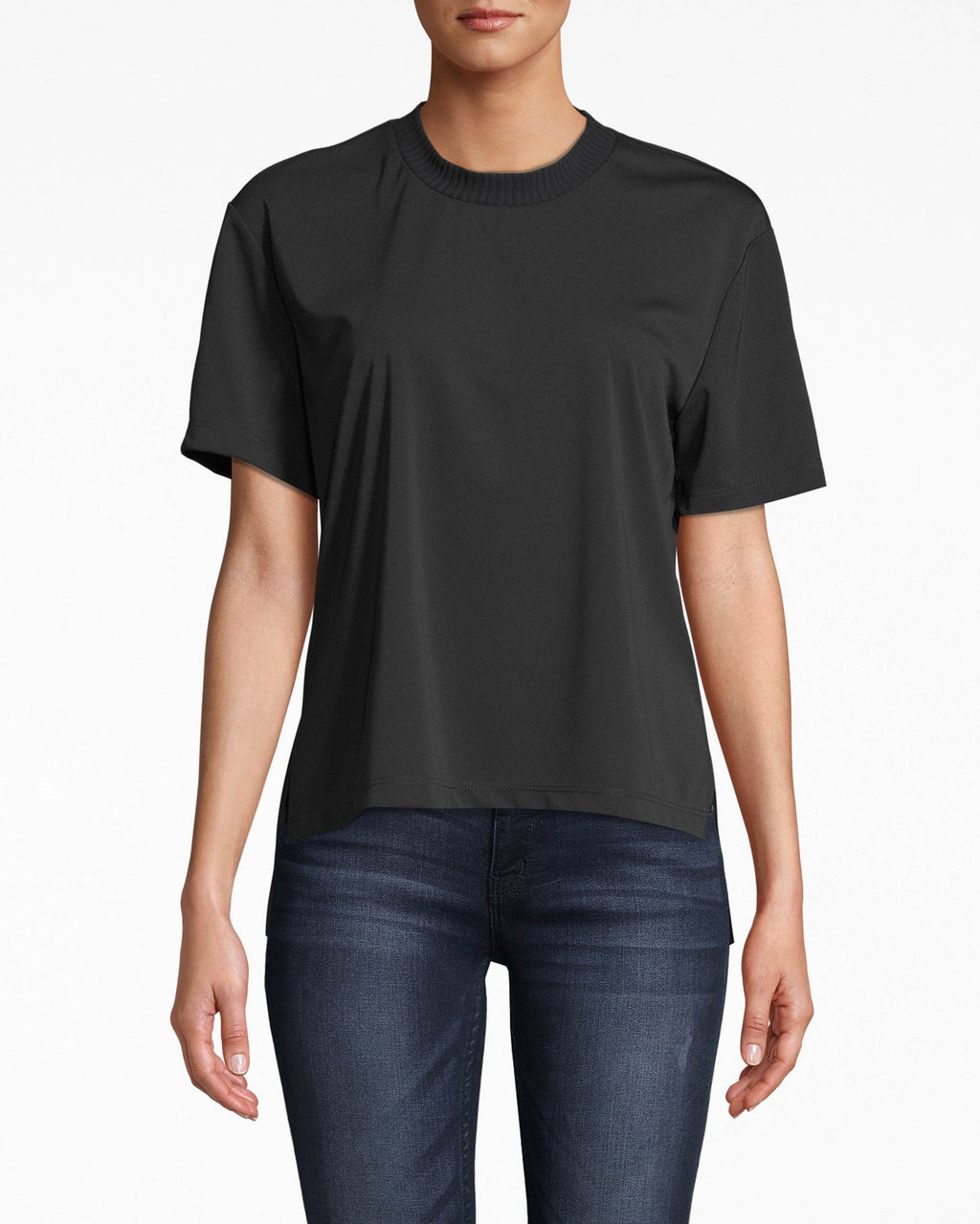 AQ10061 - STRETCHY MATTE JERSEY T-SHIRT - tops - shirts - this grab-and-go jersey t-shirt features simple short sleeves, a ribbed neckline, and comfortable fit.