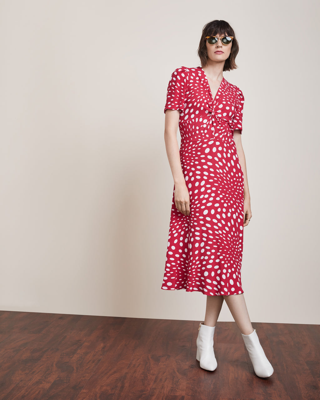 AQ10063 - Twist Front Dress - dresses - midi - A classic silhouette, this twist front dress is a midi length with short sleeves. Make this your go to summer staple.