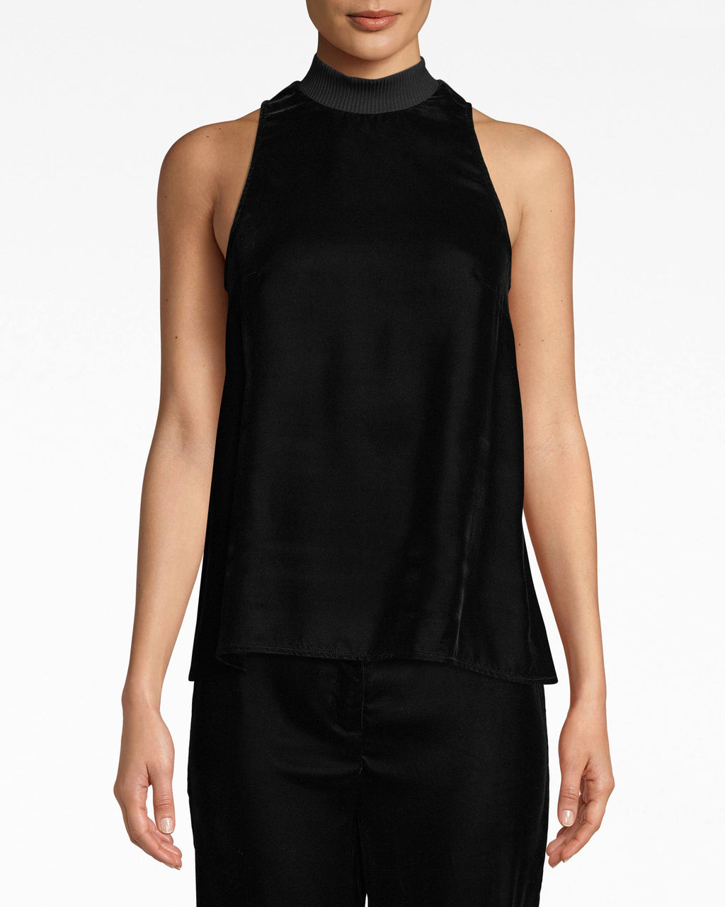 AQ10072 - LIGHTWEIGHT VELVET MOCK NECK TANK - tops - blouses - Versatility comes in velvet. This mock neck tank is easily pairable with skirts, denim and jackets. The ribbed neck adds a fresh element.