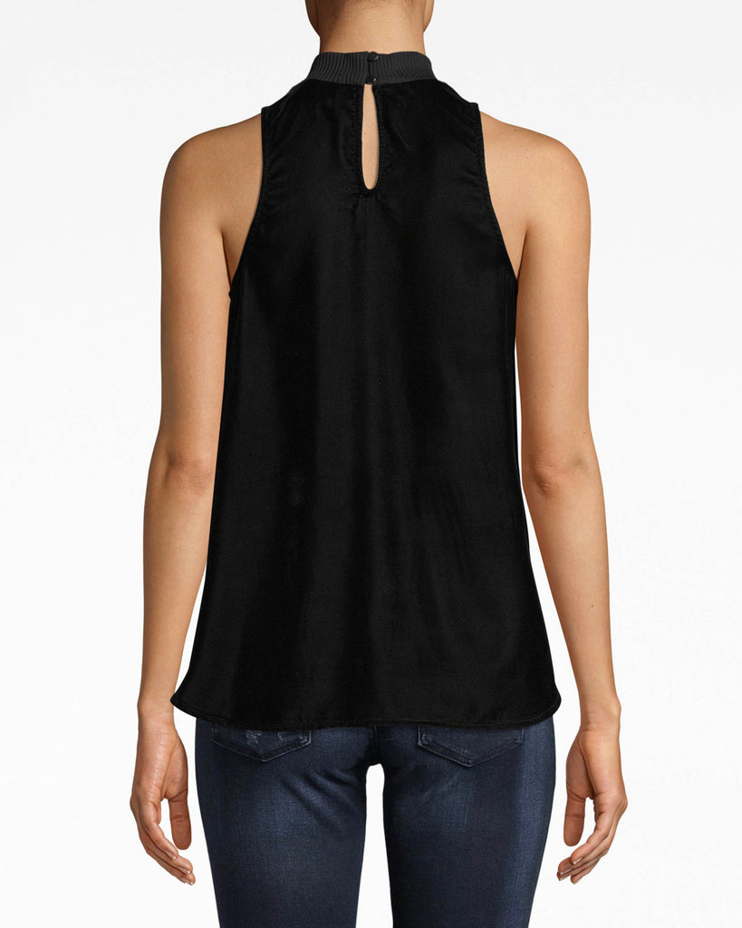 AQ10072 - LIGHTWEIGHT VELVET MOCK NECK TANK - tops - blouses - Versatility comes in velvet. This mock neck tank is easily pairable with skirts, denim and jackets. The ribbed neck adds a fresh element. Alternate View