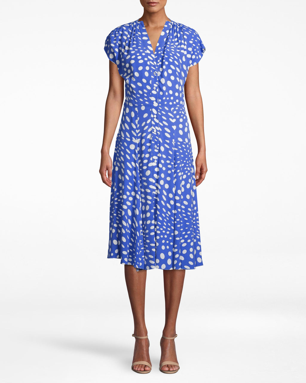 AQ10074 - PEBBLE CREPE V-NECK KIMONO SLEEVE MIDI FLARE - dresses - midi - THIS DRESS IS AS EFFORTLESS AS IT IS CHIC. FEATURING FLATTERING KIMONO SLEEVES AND BUTTONS UPTHE FRONT FOR CLOSURE.