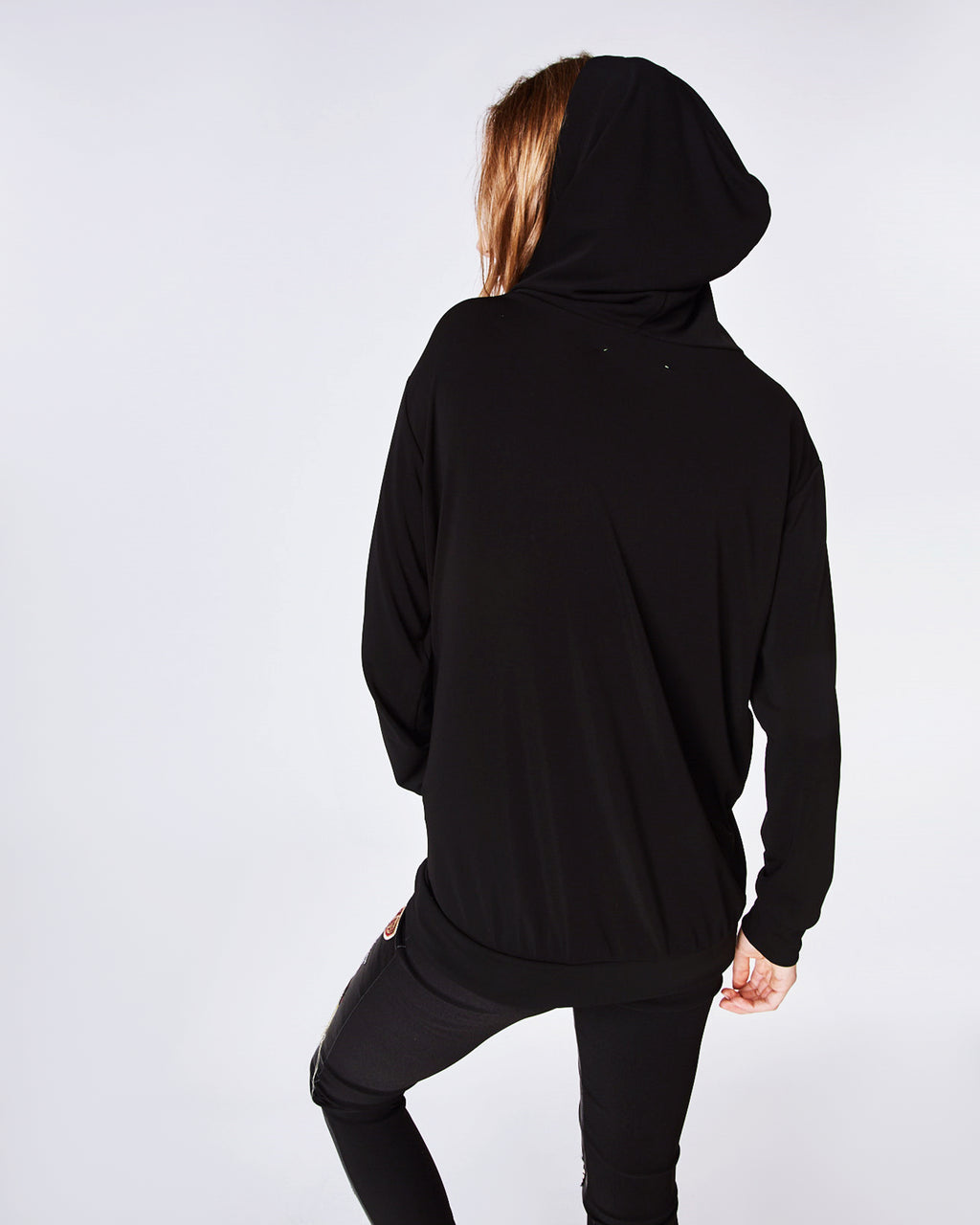 AR10064 - STRETCHY MATTE JERSEY HOODIE - tops - shirts - In a stretchy jersey, this black hoodie is a closet stable. Pair with jeans or joggers on more casual days or coffee runs. Finished with a kangaroo pocket and unlined.