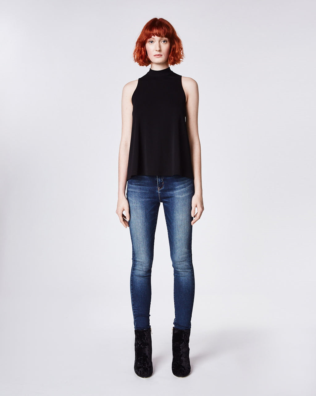 AR10065 - STRETCHY MATTE JERSEY TURTLENECK TOP - tops - shirts - In a soft and stretchy jersey fabric, this basic tank is perfect for year round wear. Pair with jeans and blazer for a simple wear to work look. Finished with a keyhole button for closure and unlined.
