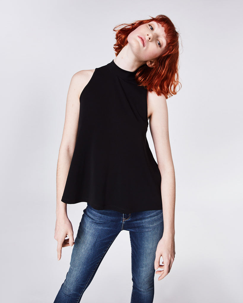 AR10065 - STRETCHY MATTE JERSEY TURTLENECK TOP - tops - shirts - In a soft and stretchy jersey fabric, this basic tank is perfect for year round wear. Pair with jeans and blazer for a simple wear to work look. Finished with a keyhole button for closure and unlined. Alternate View