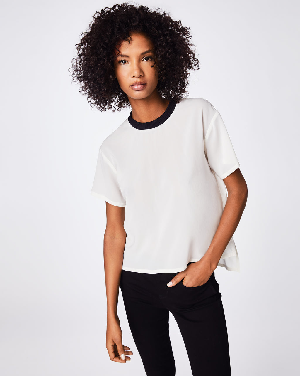 AR10077 - SOLID SILK BLEND T-SHIRT - tops - shirts - Your go-to shirt, every season. A blend of casual and dressy, this solid silk shirt features a ribbed crew neck and loose hem. It goes with just about anything (you'll see).
