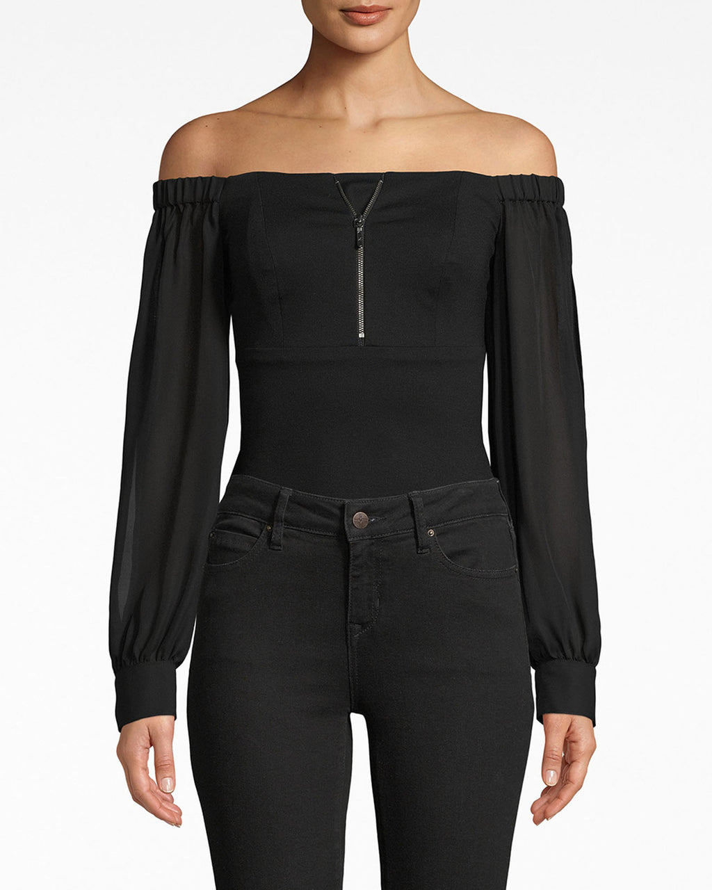 AR20031 - COMBO BODYSUIT - tops - shirts - The structured, zipper-embellished bodice on this bodysuit is matched with flowy, mesh sleeves (see that cutout?). It's a style that can be easily paired with leather or simply worn solo.