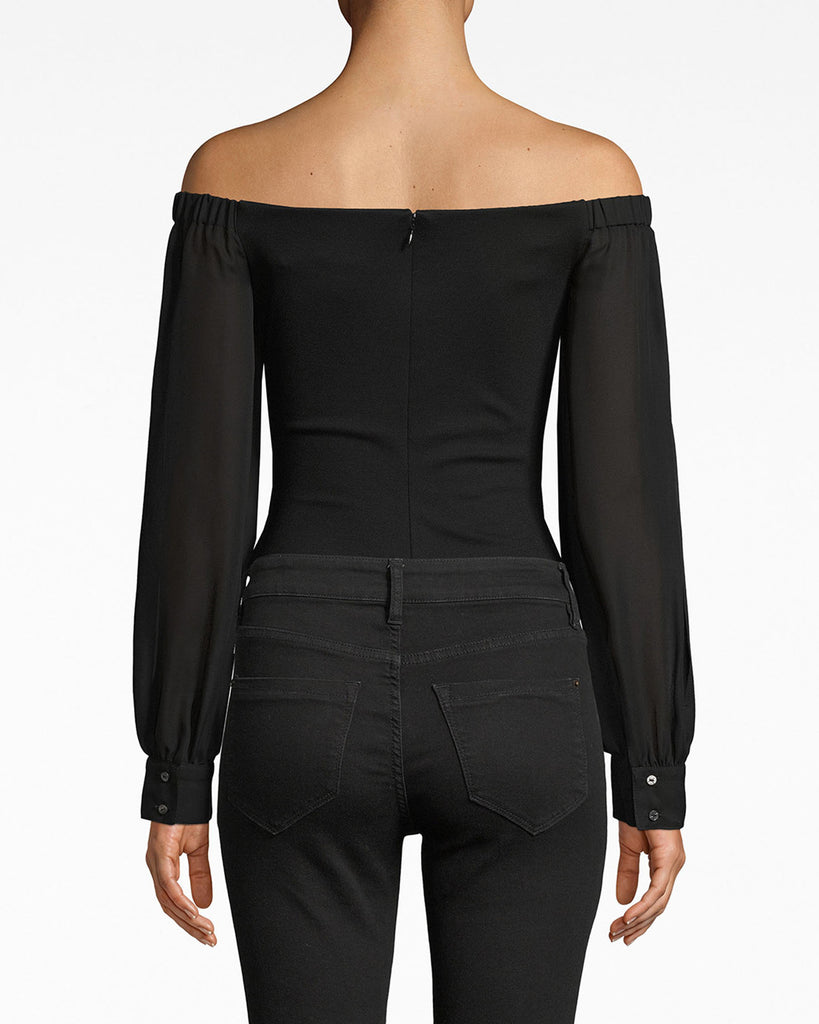 AR20031 - COMBO BODYSUIT - tops - shirts - The structured, zipper-embellished bodice on this bodysuit is matched with flowy, mesh sleeves (see that cutout?). It's a style that can be easily paired with leather or simply worn solo. Alternate View