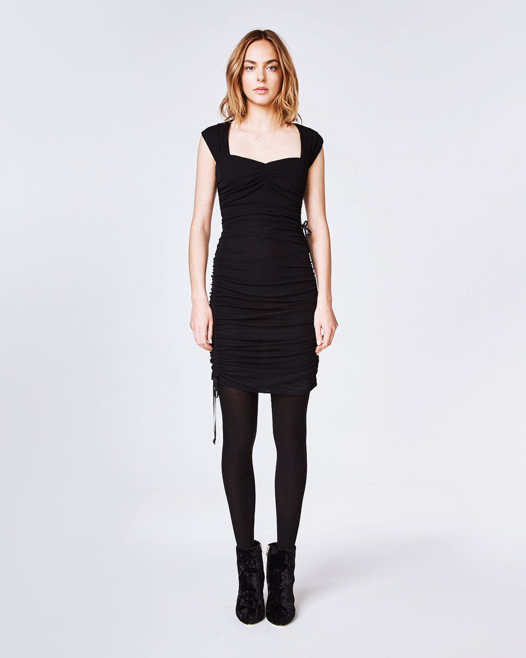 AS10175 - LIGHT WEIGHT MATTE JERSEY RUCHED DRESS - dresses - midi - In a lightweight jersey, this dress features a sweetheart neckline and skillful ruching to createfigure-flattering silhouette. With an open back and side drawstrings, this little black dress can be paired with your favorite heels for a completedlook. Finished with a concealed zipper and button for closure. Fully lined.