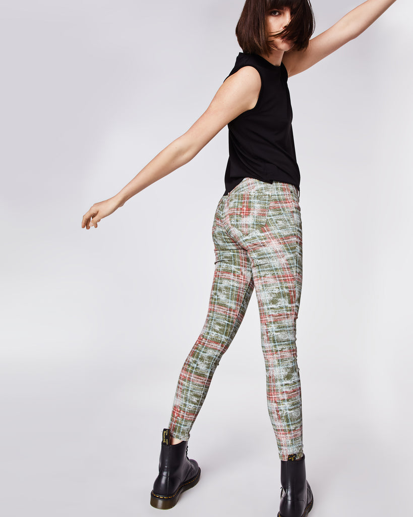 42cc204ddd658 ... AS10176 - WEATHERED PLAID JEANS - bottoms - denim - In a green and red  plaid