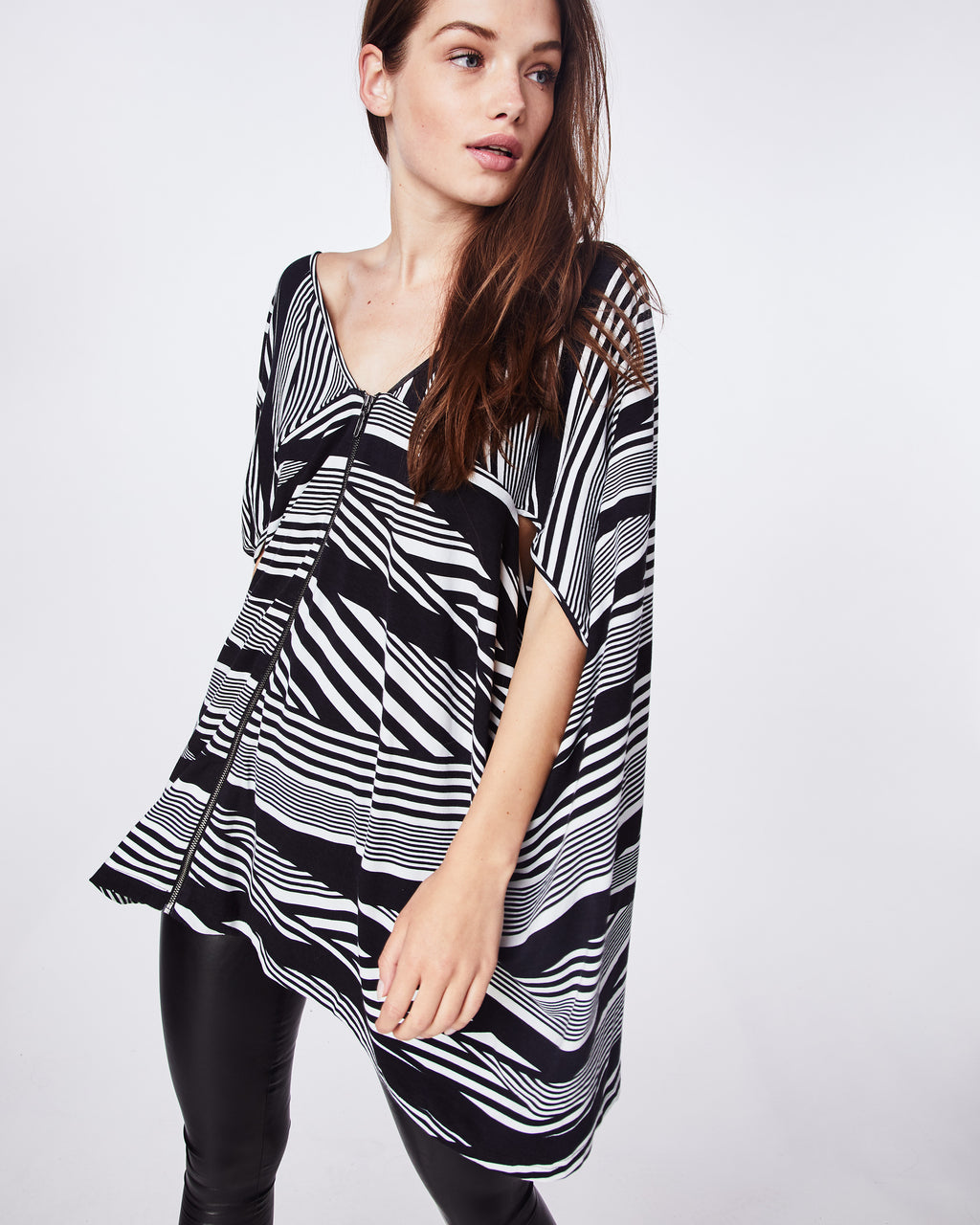 AS10179 - WAVY STRIPE COCOON TOP - tops - blouses - n/a