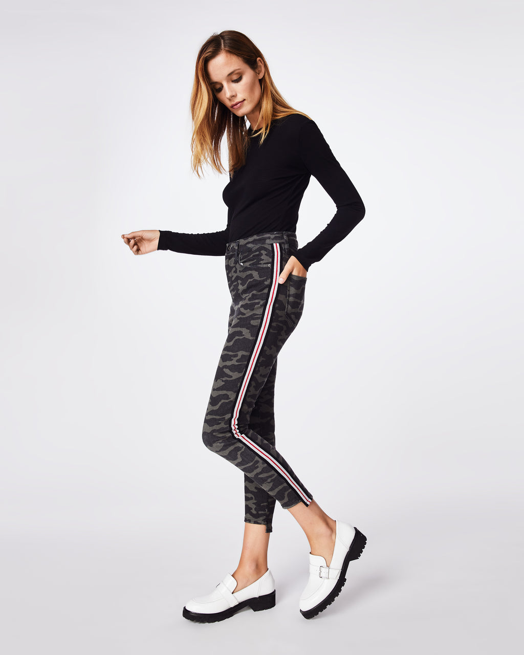 AS10191 - CAMO JEANS - bottoms - pants - CAMO MEETS STRIPE MEETS COOL. THESE MID-RISE PANTS FEATURE A RIBBED RACING STRIPE AND A SKINNY ANKLE FIT. ACCESSORIES? UNNECESSARY.