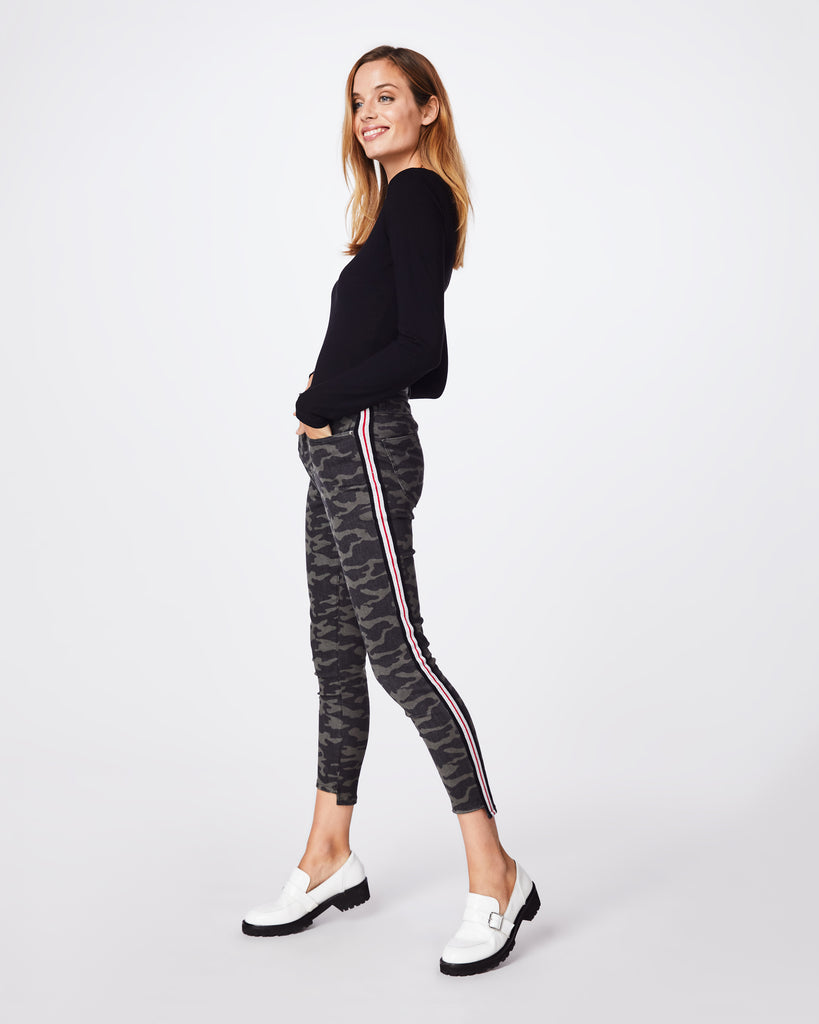 AS10191 - CAMO JEANS - bottoms - pants - CAMO MEETS STRIPE MEETS COOL. THESE MID-RISE PANTS FEATURE A RIBBED RACING STRIPE AND A SKINNY ANKLE FIT. ACCESSORIES? UNNECESSARY. Alternate View