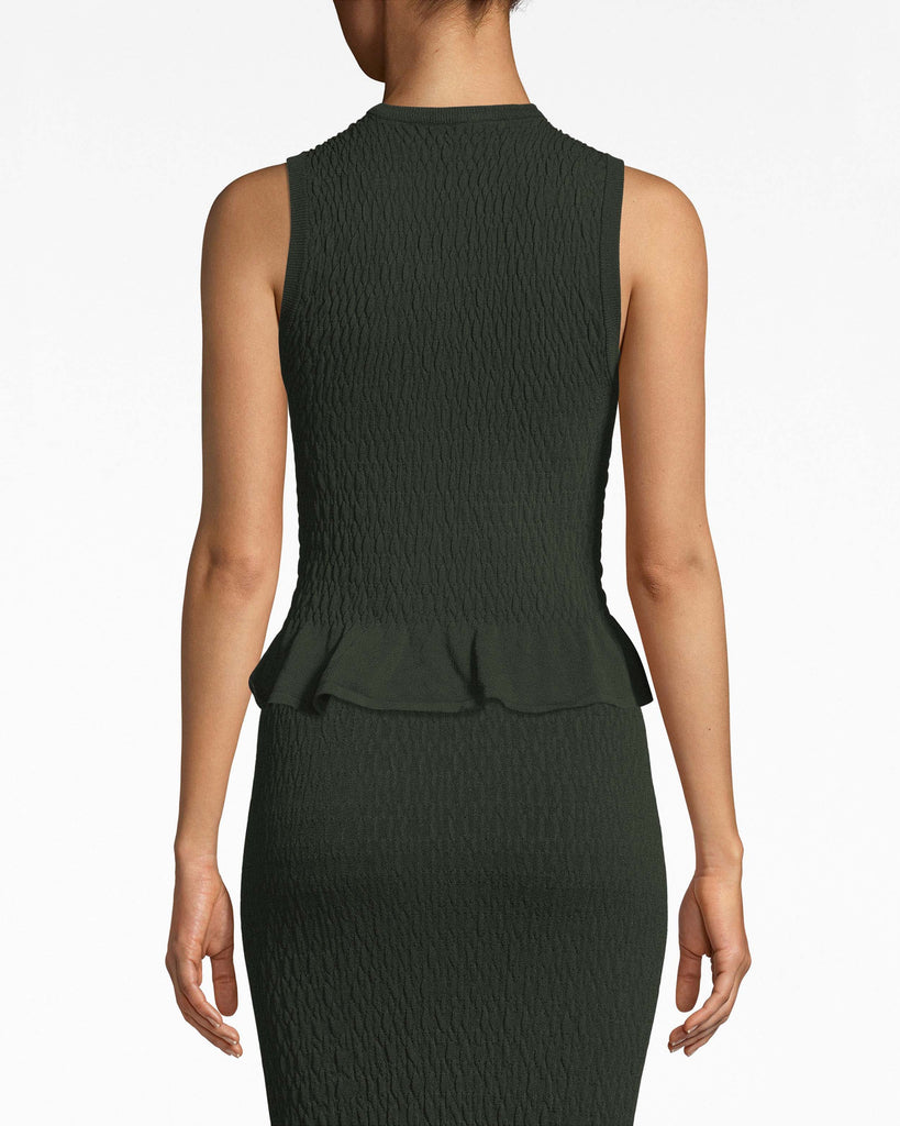 AS10204 - SMOCKED KNITWEAR PEPLUM TANK TOP - tops - blouses - A little peplum goes a long way. This smocked top is sleeveless and sleek. It frames the body beautifully and boasts a rounded neckline. Pair with our Smocked Knit Pencil Skirt. Alternate View