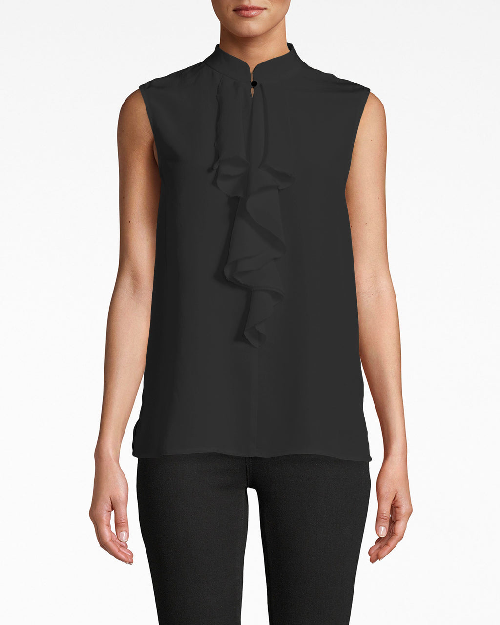 AS10211 - SOLID SILK SLEEVELESS RUFFLE BLOUSE - tops - blouses - Professsional summer. This sleeveless blouse exudes chic with a mock neck collar and centered ruffle. Pair with pants or a pencil skirt.