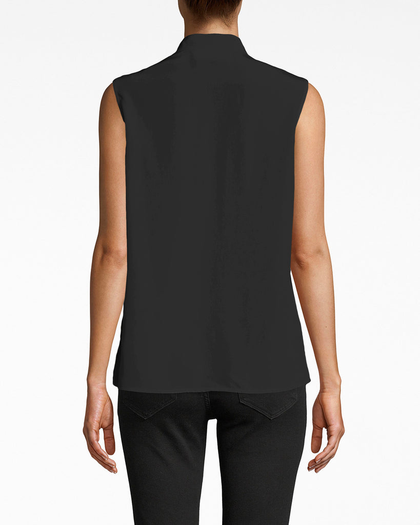 AS10211 - SOLID SILK SLEEVELESS RUFFLE BLOUSE - tops - blouses - Professsional summer. This sleeveless blouse exudes chic with a mock neck collar and centered ruffle. Pair with pants or a pencil skirt. Alternate View