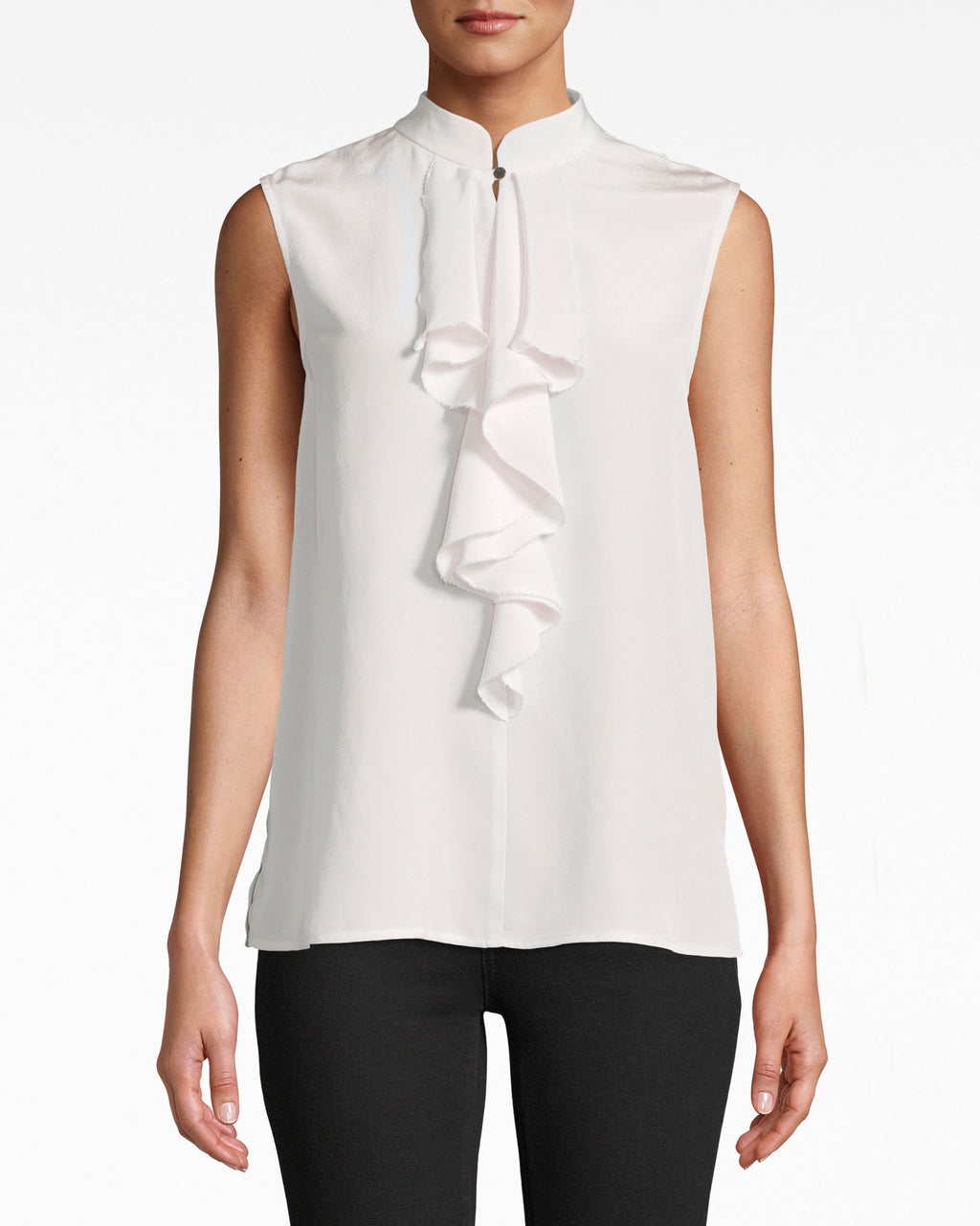 Solid Silk Sleeveless Ruffle Blouse