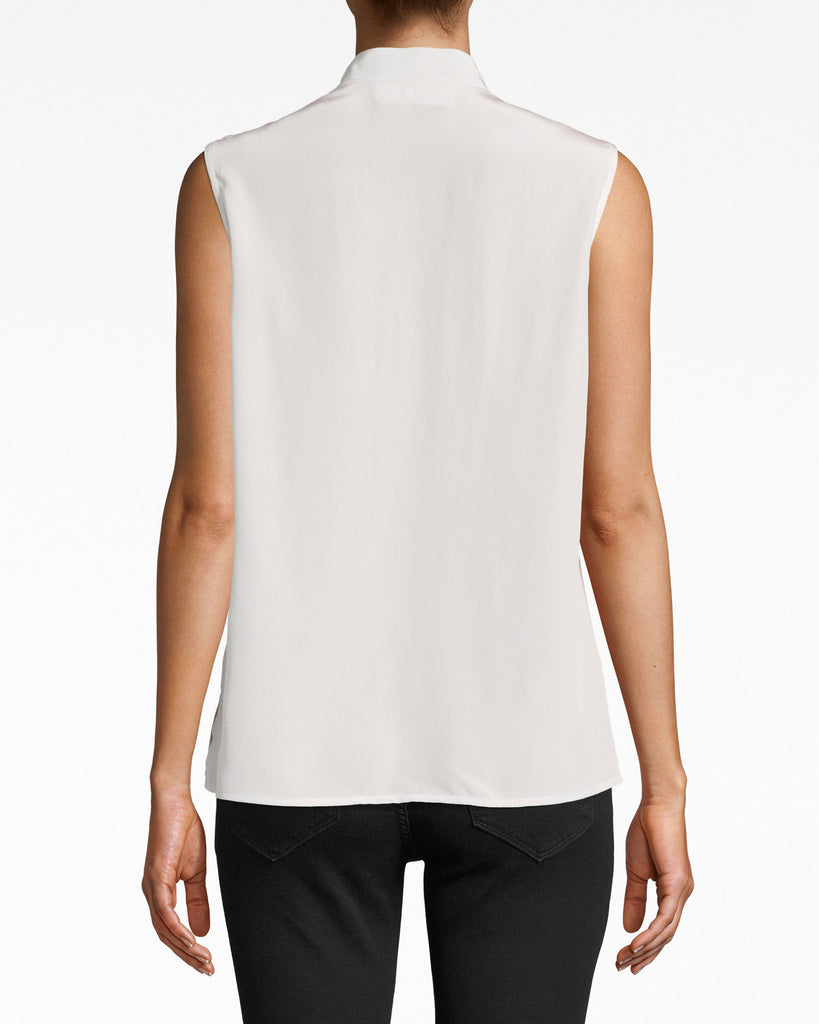 Solid Silk Sleeveless Ruffle Blouse Alternate View
