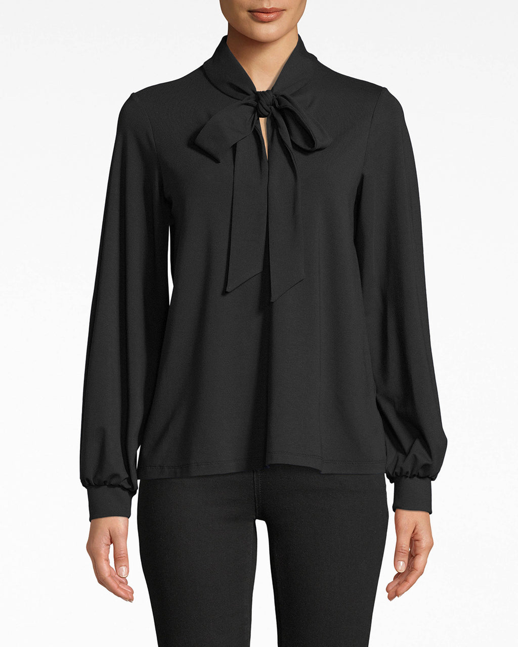 AS10212 - JERSEY STOCK TIE TOP - tops - blouses - Tied to the office? Channel your inner boss with this long sleeve jersey top. The collared neckline streamlines the silhouette so the tie closure can really stand out. The wrist cuffs set the airy, flowy sleeves in place.