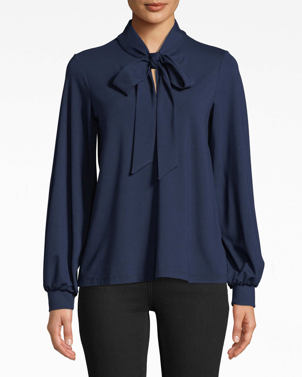 AS10212 - JERSEY STOCK TIE TOP - tops - blouses - Tied to the office? Channel your inner boss with this long sleeve jersey top. The collared neckline streamlines the silhouette so the tie closure can really stand out.