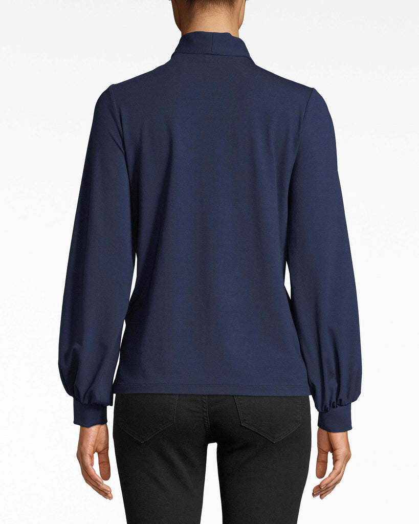 AS10212 - JERSEY STOCK TIE TOP - tops - blouses - Tied to the office? Channel your inner boss with this long sleeve jersey top. The collared neckline streamlines the silhouette so the tie closure can really stand out. Alternate View