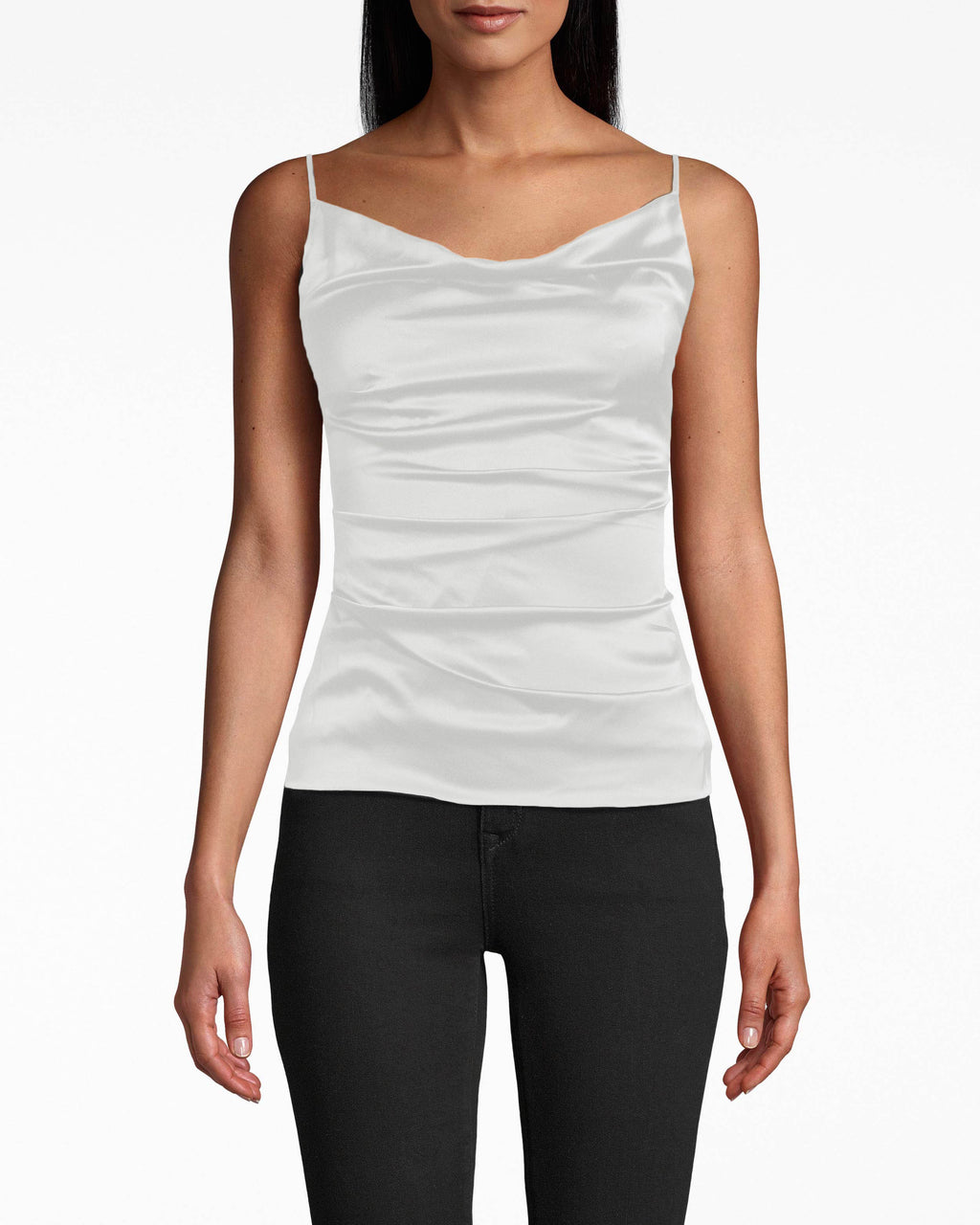 AS10213 - SILK CARLY COWL NECK TOP - tops - blouses - The fabric gathers accentuate your waist on this silk cowl neck camisole, which is designed with adjustable spaghetti straps. Exposed back zipper for closure.