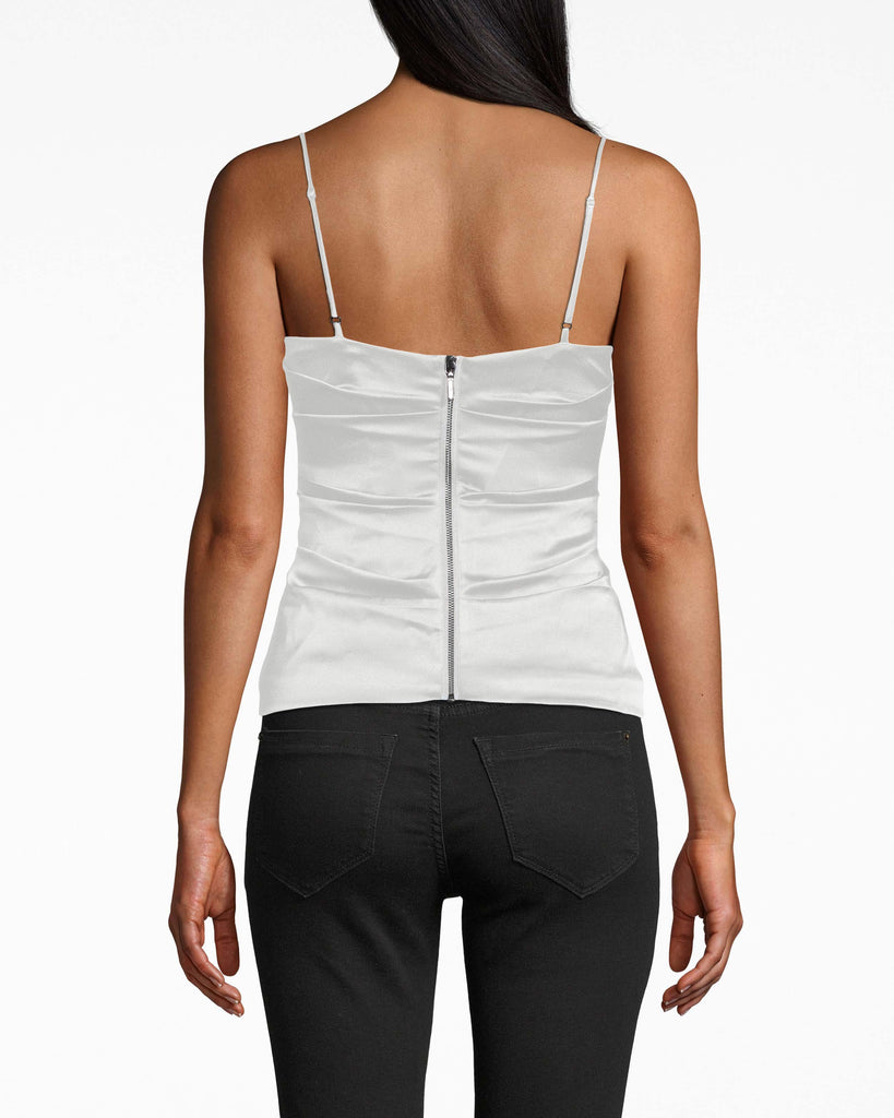 AS10213 - SILK CARLY COWL NECK TOP - tops - blouses - The fabric gathers accentuate your waist on this silk cowl neck camisole, which is designed with adjustable spaghetti straps. Exposed back zipper for closure. Alternate View