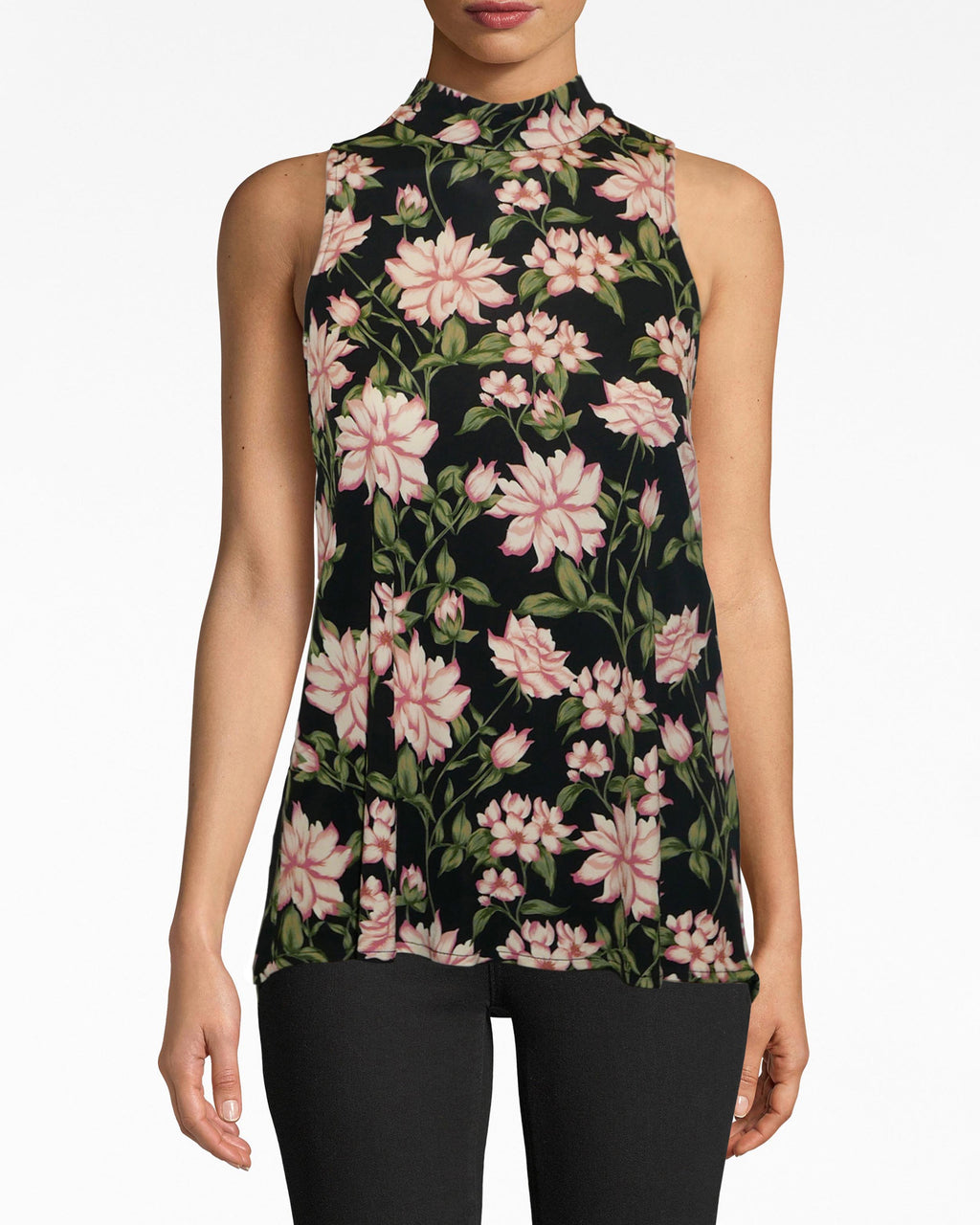 AS10215 - SPRING DREAM TURTLENECK TOP - tops - shirts - THIS SLEEVELESS TURTLENECK TOP IS DESIGNED IN OUR SPRING DREAM PRINT IN A STRETCHY MATTE JERSEY. PERFECT FOR PAIRING WITH A NIGHT OUT OR UNDER A BLAZER DEPENDING ON YOUR MOOD. TWO BUTTONS FOR CLOSURE.