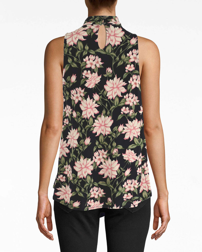 AS10215 - SPRING DREAM TURTLENECK TOP - tops - shirts - THIS SLEEVELESS TURTLENECK TOP IS DESIGNED IN OUR SPRING DREAM PRINT IN A STRETCHY MATTE JERSEY. PERFECT FOR PAIRING WITH A NIGHT OUT OR UNDER A BLAZER DEPENDING ON YOUR MOOD. TWO BUTTONS FOR CLOSURE. Alternate View