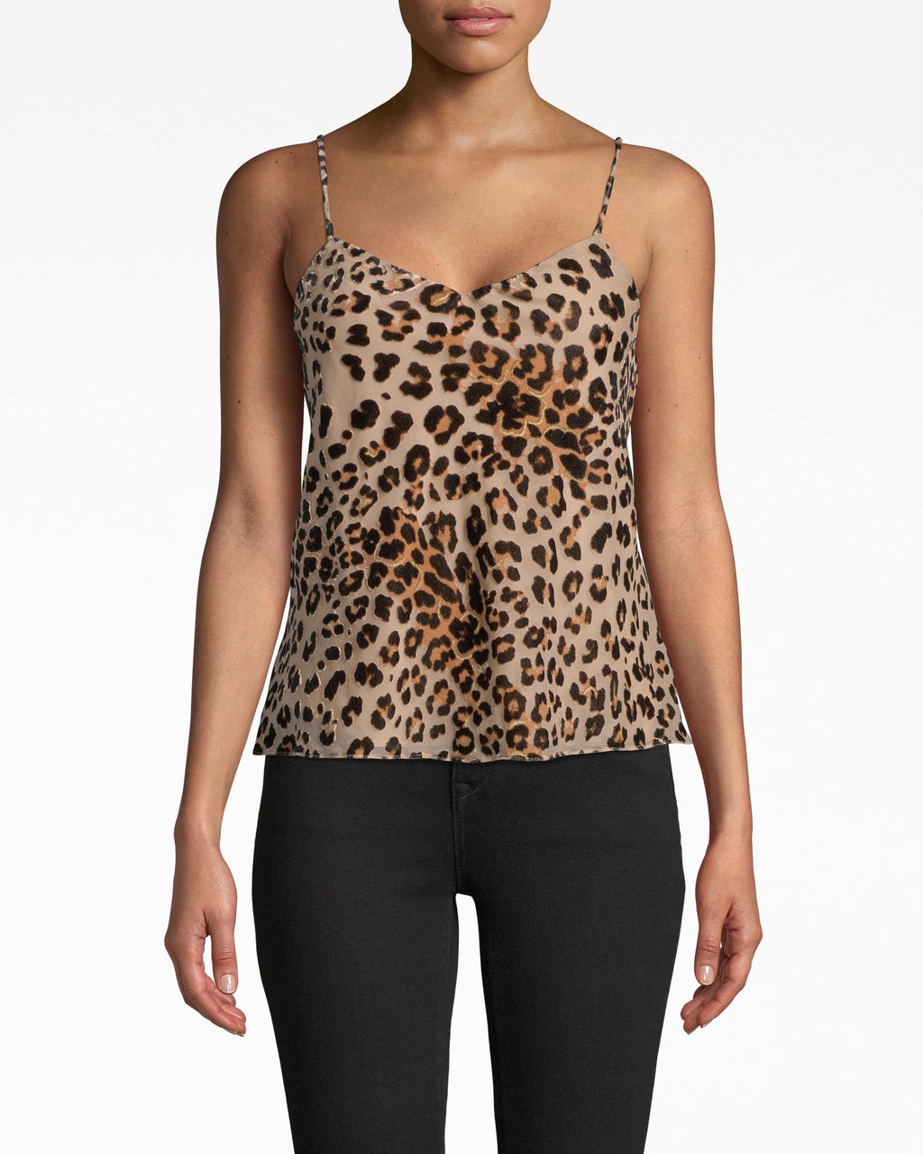 AS20057 - LEOPARD BURNOUT CAMI - tops - blouses - A fierce update to a favorite style. Spaghetti straps and a loose hem make this leopard cami an easy grab.