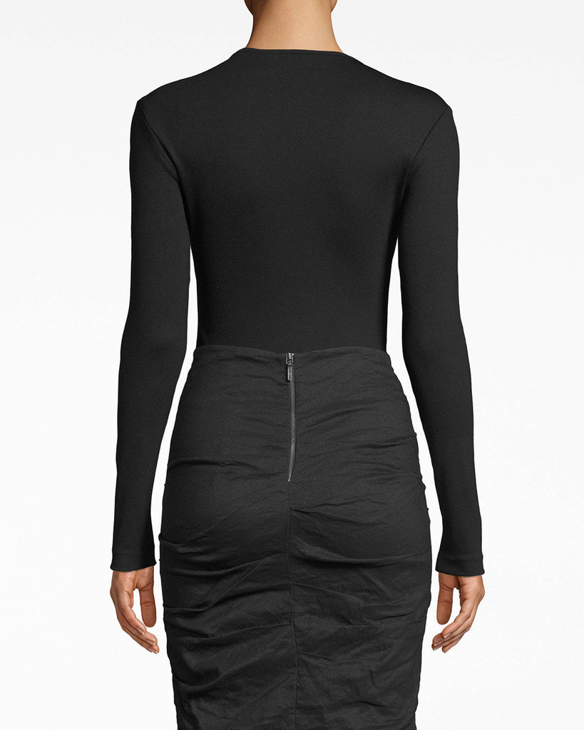 AT10102 - PONTE LONG SLEEVE BODYSUIT - tops - shirts - Zip and stun. This long sleeve bodysuit elongates your figure while the gold center zipper catches eyes. Pair alone with a skirt or bottoms, or layer with a moto jacket. Alternate View
