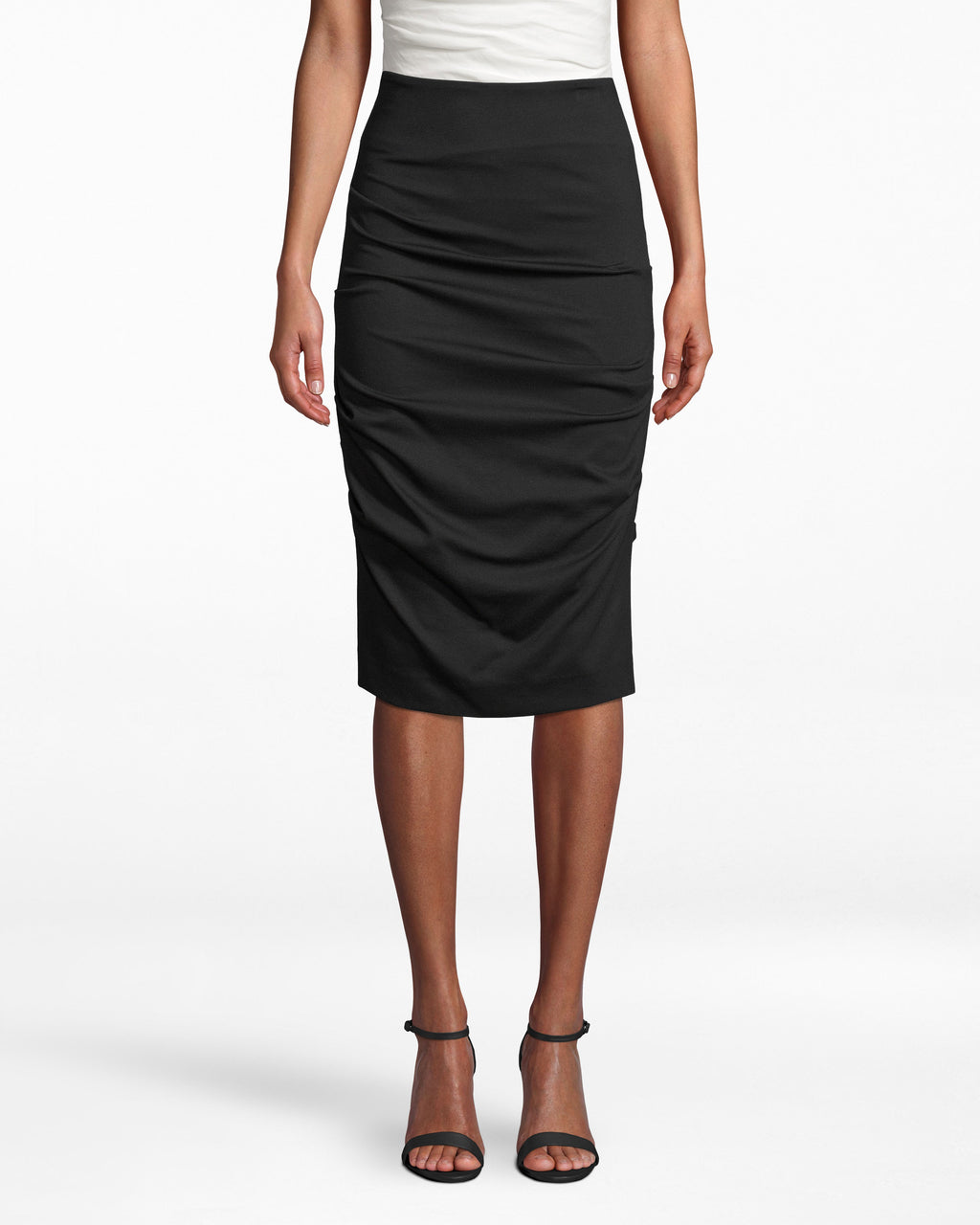 BA0515 - PONTE SKIRT - bottoms - skirts - She means business. Take this body-hugging ponte skirt to the office: the fabric gathers all over the silhouette to emphasize your frame.