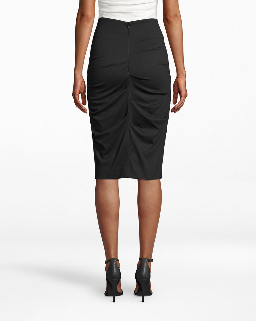 BA0515 - PONTE SKIRT - bottoms - skirts - She means business. Take this body-hugging ponte skirt to the office: the fabric gathers all over the silhouette to emphasize your frame. Alternate View